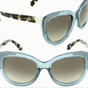 Coach teal crystal/snow leopard cateye sunglasses
